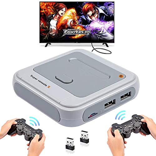 Whatsko Consola Retro Arcade Super Console X con 33000 Juegos + Mandos de 2 Piezas, 1280x720 FHD Mini Consola de Videojuegos, WFI Arcade Consola Portatil Multijugador con HDMI/AV/LAN