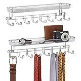 mDesign Juego de 2 perchas para pañuelos con estantes para montaje en pared – Balda con 8 colgadores para cinturones o corbatas – Repisa con percha organizadora para carteras, llaves, etc. – plateado