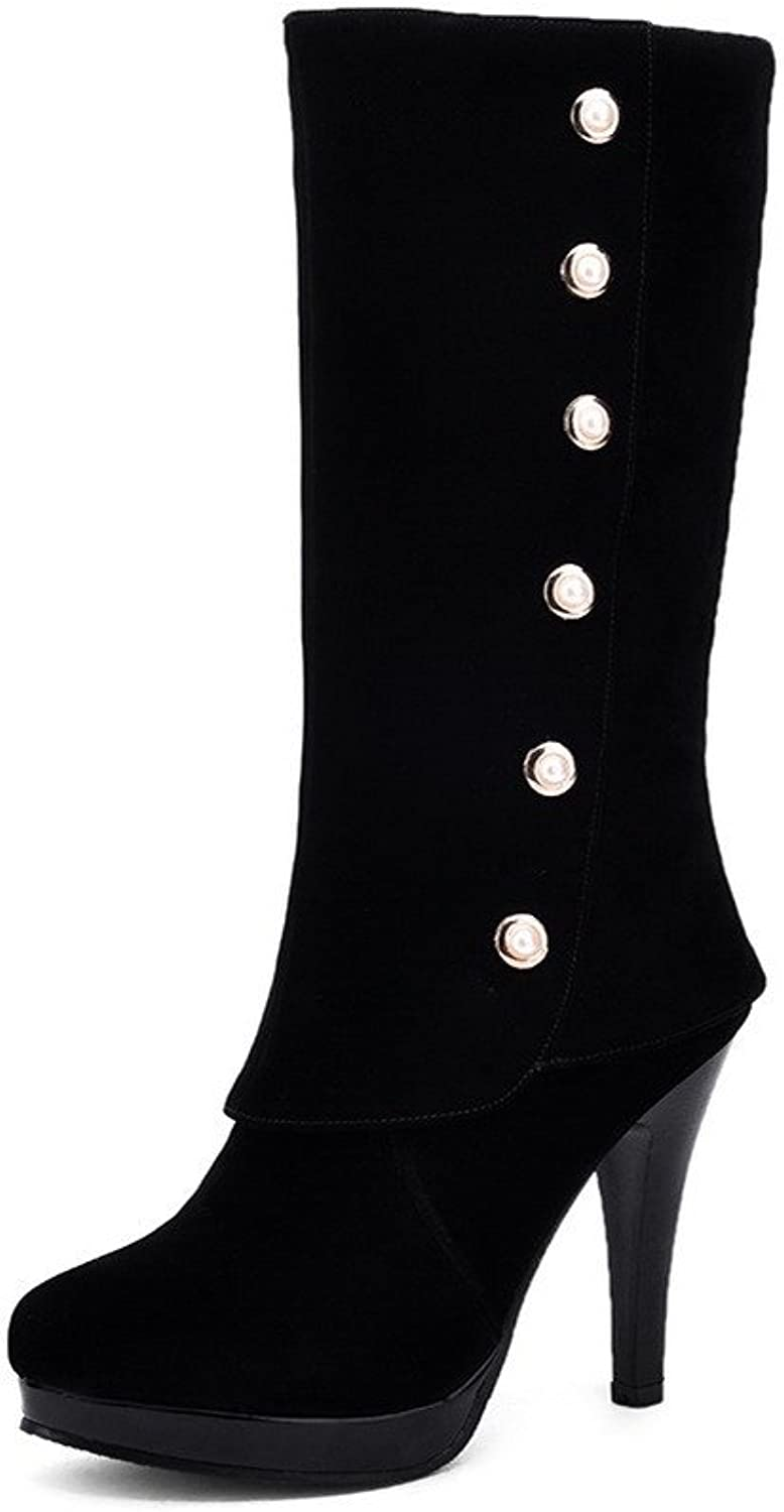 AllhqFashion Women's Pull-on Round Closed Toe High-Heels Imitated Suede Mid-top Boots