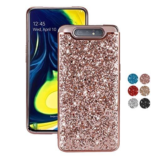 ColiColi für Samsung Galaxy A80 Hülle Glitzer Mädchen Rosegold Silikon Dünn Handyhülle Ultra Slim Bling TPU PC Schlank Leicht Schutzhülle Stoßfest Kratzfest Bumper 3D Glitter Case, Rose Gold