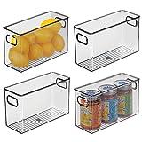 mDesign Juego de 4 fiambreras para guardar alimentos en el frigorífico – Organizador de nevera para la cocina – Cajas de plástico para lácteos, frutas y otros alimentos – gris