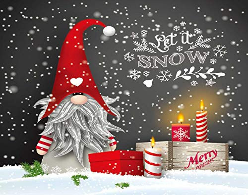 Aofire Let It Snow 5D DIY Diamond Painting by Number Kits for Adults Kids Christmas Still Life Scandinavian Dwarf Tomte Gnome Diamond Dotz Gem Beads Art Crafts Wall Decor 12x16 Inch NOT Oil Painting