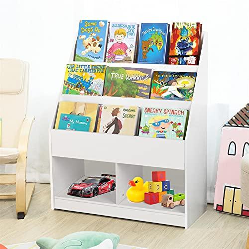 Bibliothèque pour Enfants, Étagère à 3 Niveaux, Étagère à Livres pour Enfants, avec Présentoirs et Rangement, pour Jouets...
