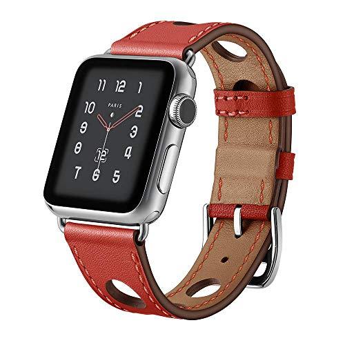 123Watches.nl - Apple watch leren hermes band - rood - 42mm en 44mm