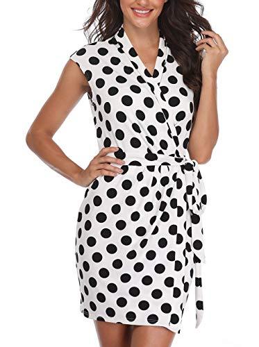 Miss Moly Mujeres Abrigo Vestido Polka Dots Sexy V Crossover Spots Señoras sin Mangas Pretina Atado Slim Above Knee