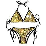 FULIYA Traje de baño halter para mujer con estampado de dos piezas de bikini sexy con mecanismo de patrón de reloj creativo geométrico grungy fondo