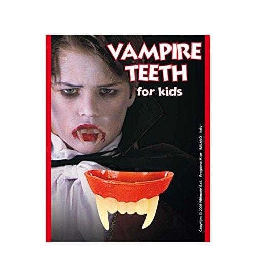 Denti da vampiro per bambini ideali per un costume di Halloween o per completare vestito da Dracula