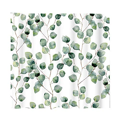 CUHAWUDBA 180Cmx180Cm Cortina de Ducha de Hoja Verde Acuarela Planta Hojas DecoracióN Floral de Ba?O PoliéSter