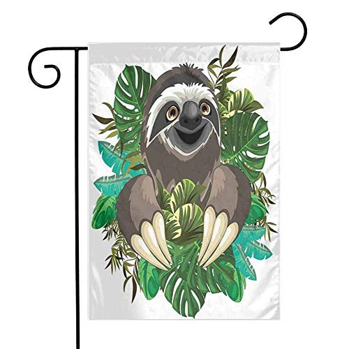 Drapeau de cour extérieure florale paresseux fleur tropicale Mammifère de bande dessinée sur la jungle tropicale avec des feuilles de bananier vert Drapeau de jardin extérieur de vacances mignon plage