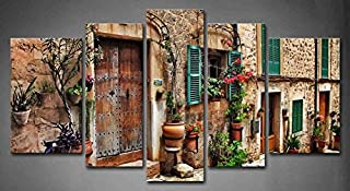 5 Panel Wall Art Streets of Italy Tuscany Towns Old Mediterranean Door Windows Flower Painting The Picture Print On Canvas...