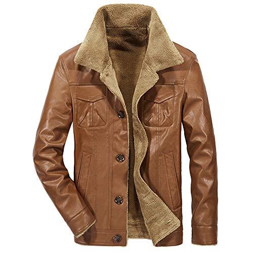 serliy😛Herren Winterjacke,Hochwertiges Kunstleder Lederjacke Parka/Mantel mit Fell warme Mens Jacket gefüttert übergangsjacke für Jugendliche und Erwachsene