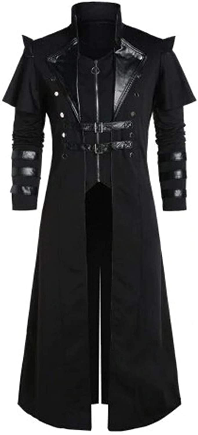 Men's Max 74% OFF Finally popular brand Gothic Steampunk Long Trench Coat Breas Double Jacket