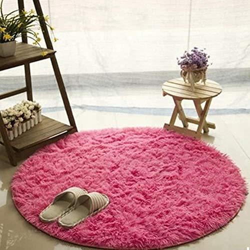 Morbuy Tapete Redondo Felpudos Alfombra 60CM/80CM/100CM Hogar Antideslizante Alfombras Piso Moqueta Mats Pad para Habitación Lavable Decorativo Suave Superficie (60cm, Rosa roja)