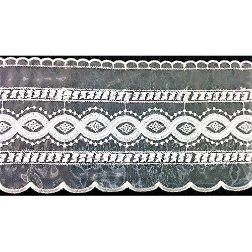 13 MT Snijstok Kant Organza hoog 110 mm Geborduurde Cream partitie Geometrische Design Band