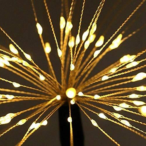 Solar Firework Lights,120 LED Powered 40 Copper Wires String Landscape Light,Outdoor Garden Lighting,Waterproof Chandelier Light,2 Mode Battery Powered for Garden,Christmas,Outdoor(2 Pack Warm-White)