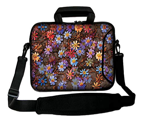 Luxburg® Schultertasche, 12 Zoll, weich, für Notebooks, mit Griff, Design: Gänseblümchen