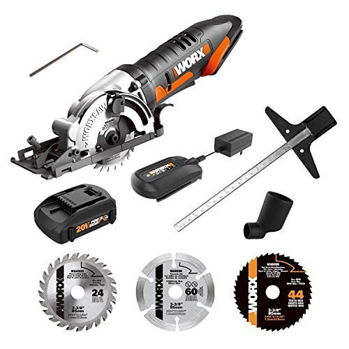 WORX WX523L.2 20V 1.5Ah Cordless Circular Saw with 3 Saw Blades Battery and Charger Included