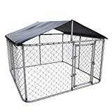 Kullavik Outdoor Dog Kennel with Heavy Duty Medium Galvanized Chain Link, Dog Cage Chicken Coop Hen House, UV & Water Resistant Black Proof Cover