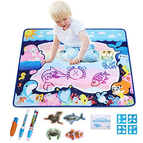 Pynsseu Water Drawing Mat Doodle Mat Educational Toys-Multiple Color Painting, Coloring for Kids- Aqua Magic Mat-Toddler Gifts for Boys Girls, Age of 2,3,4,5,6 Year Old 32' X 25' in 10 Colors