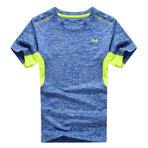 Echinodon Jungen Shirt Sport Schnelltrockend Outdoor T-Shirt Trainingsshirt Jogging Kurzarmshirt Blau