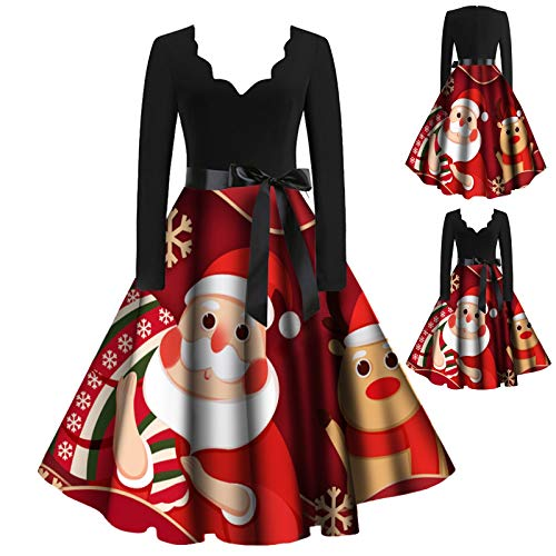 IHGWE - Vestido de mujer con cuello en V, estilo vintage Hepburn, con impresión navideña, vestido de fiesta, línea A, vestido retro rojo XL