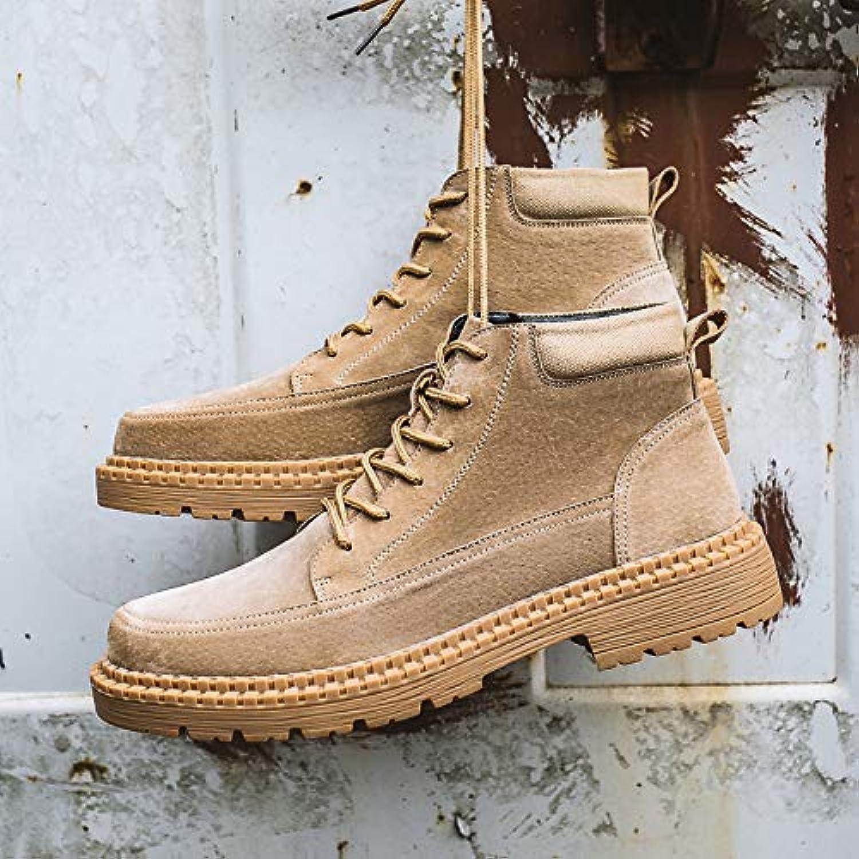LOVDRAM Boots Men's Winter Men'S Wild Martin Boots Men'S Help Tool Boots Short Boots Retro High Men'S shoes