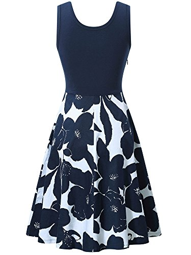 VETIOR Womens Cocktail Dress Scoop Neck Floral Summer Beach Dress