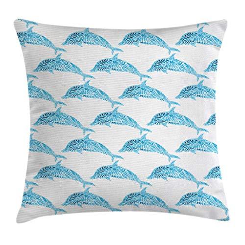 Funda de cojín, diseño de delfín acuático cuadrado para sofá, cama, silla, sofá, decoración de 45,7 x 45,7 cm