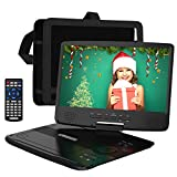 HDJUNTUNKOR Portable DVD Player with 10.1' HD Swivel Display Screen, 5 Hour Rechargeable Battery, Support CD/DVD/SD...