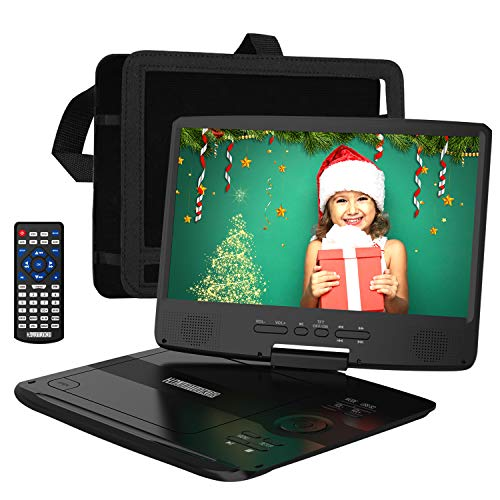 HDJUNTUNKOR Portable DVD Player with 10.1' HD Swivel Display Screen, 5 Hour Rechargeable Battery, Support CD/DVD/SD Card/USB, Car Headrest Case, Car Charger, Unique Extra Button Design