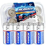 Acdelco C Alkaline Batteries in Reclosable Storage Box, 8 Count
