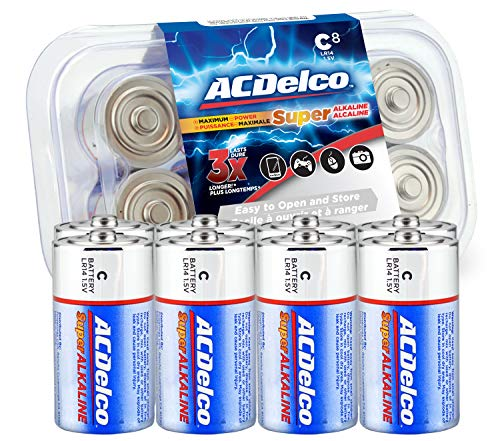 ACDelco 8-Count C Batteries, Maximum Power Super Alkaline Battery, 10-Year Shelf Life, Recloseable Packaging