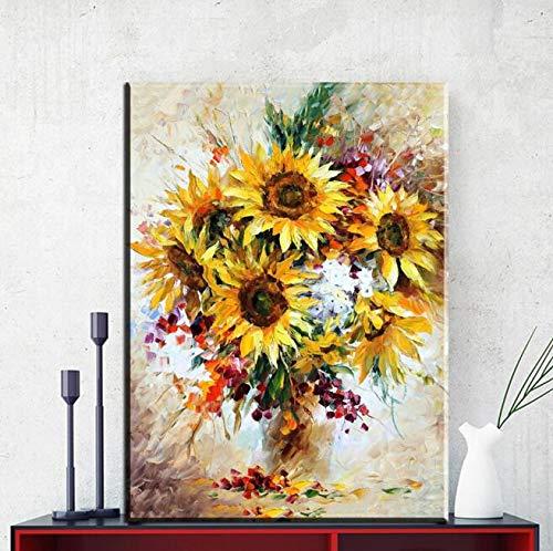 Sonnenblumenmode Vase Wandbild rahmenlose Malerei Wandbild Wohnzimmer Kunst Leinwand Poster Malerei hängende Malerei Familie rahmenlose dekorative Malerei Z29 60x80cm