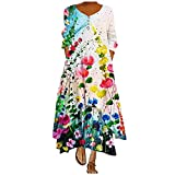 Plus Size Boho Floral Loose Long Maxi Dress for Women Long-Sleeve Bohemian Caftan Beach Cover Long Flowy Dresses