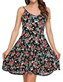 ACEVOG Womens Casual Fit and Flare Floral Sleeveless Cocktail Dress Pattern 1 M