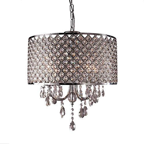 Aufun Kristall Lampenschirm für Kronleuchter Hängelampe, Moderne Hängeleuchtenschirm aus Acryl Edelstahl, Φ40 cm Hängelampenschirm
