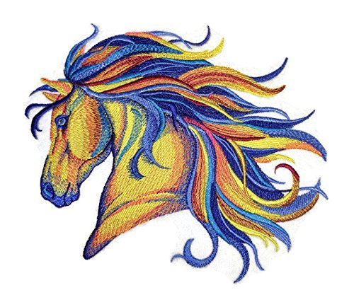 [Custom] Vibrant Horse in Watercolor Embroidery Iron On/Sew Patch [7.8' x 6.73'][Made in USA]