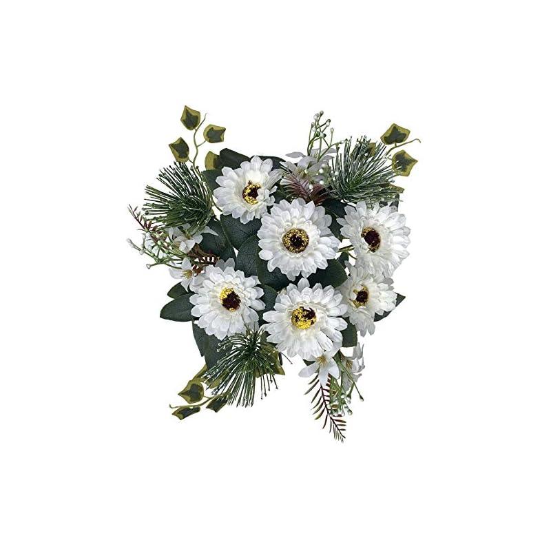 silk flower arrangements la.ponee fake chrysanthemum flowers - a bouquet of artificial daisy flowers, silk gerbera marigold flowers with stems, floral centerpieces for tables, faux spring floral arrangements (white)