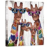 Visual Art Decor Mom Dad Babies Giraffes Canvas Prints Animal Painting Wall Decor Dual View Picture on Wood...