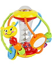 HOLA Baby Toys 6 to 12 Months,Baby Rattles Activity Ball,Shaker,Grab and Spin Rattle,Crawling Educational Learning Sensory Toys for 3,6,9,12 Months Baby Kids Infant Boys Girls