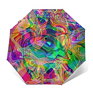51sCpYmuMFL. SS300  - Sombrillas Plegables psicodélicas Colores Vivos Coloridos Sombrilla Plegable portátil Sombrilla de Lluvia