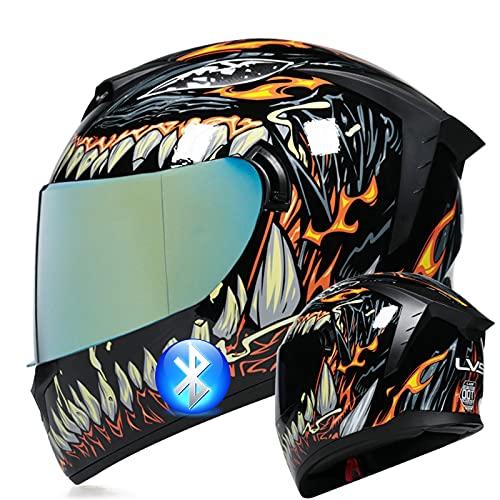Casco de motocicleta Bluetooth Modular de cara completa Visera solar doble Certificación ECE Bicicleta de calle Scooter Monopatín Casco integrado para hombres adultos Mujeres,4,XL