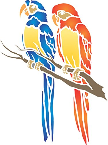 Papageien-Schablone – wiederverwendbare Wandschablonen zum Malen – Beste Qualität Dekorationsideen – Verwendung auf Wänden, Böden, Stoffen, Glas, Holz und mehr S