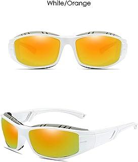 Fashion Trend Gray/Blue Green/Yellow Green/Blue/Dark Blue/Orange Men's Driving Sunglasses Plastic Sports Riding Outdoor Anti-Glare UV400 Sunglasses Retro (Color : Orange)