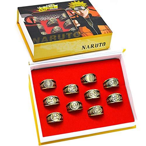NARUTO Ring Set, Japanese Anime Cartoon Uchiha Itachi Hatake Kakashi Sharingan Alloy Jewelry