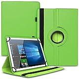Tablet Hülle kompatibel für Xido Z120 Z110 X111 X110 Tasche Schutzhülle Hülle Cover aus Kunstleder Standfunktion 360° Drehbar, Farben:Grün