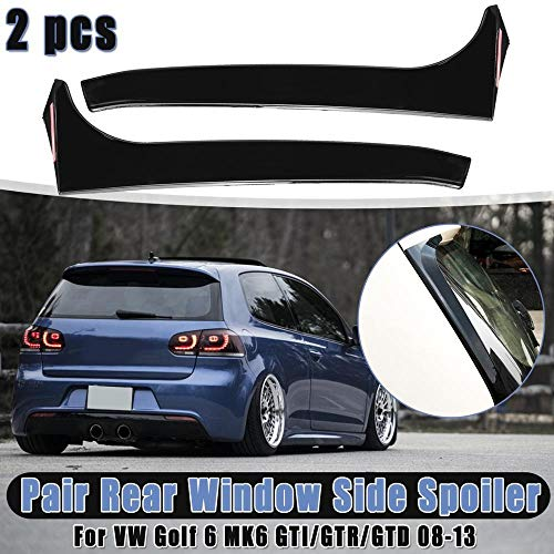 NO LOGO LSB-Auto Zwecke 1pair Gloss Black Heckscheibe Seiten Spoiler Canard Canards Splitter Fit for VW Fit for Golf 6 Fit for MK6 Fit for GTI/GTR/GTD 2008 2009 2010 2011 2012 2013