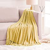FRESHMINT Throw Blanket Soft Fluffy Chenille with Decorative Tassel Fringe for Home Decor Sofa Couch Bed Gift 50 x 60 Inch, Sunny Yellow