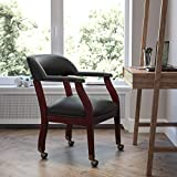 Flash Furniture Black LeatherSoft Conference Chair with Accent Nail Trim and Casters