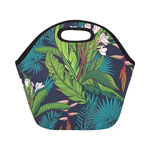 Isolierte Neopren-Lunch-Tasche Tropical Jungle On Dark Große, wiederverwendbare, thermische, dicke Lunch-Tragetaschen Für Brotdosen Für den Außenbereich, Arbeit, Büro, Schule
